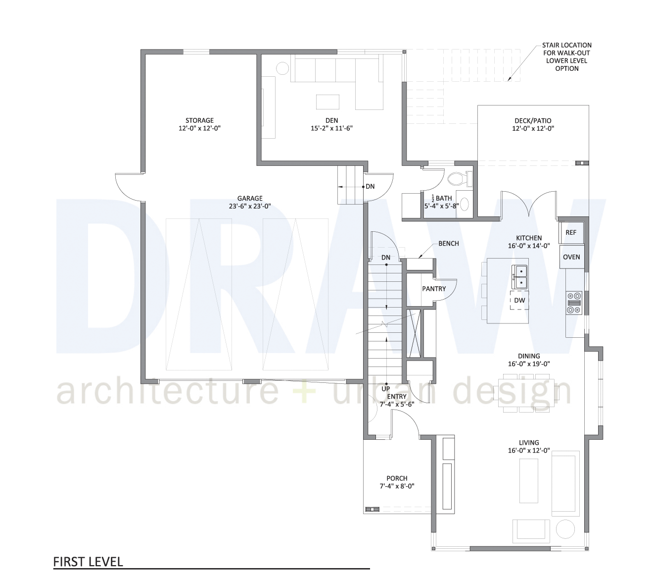 Urban North - House Plan 1 first level floor plan