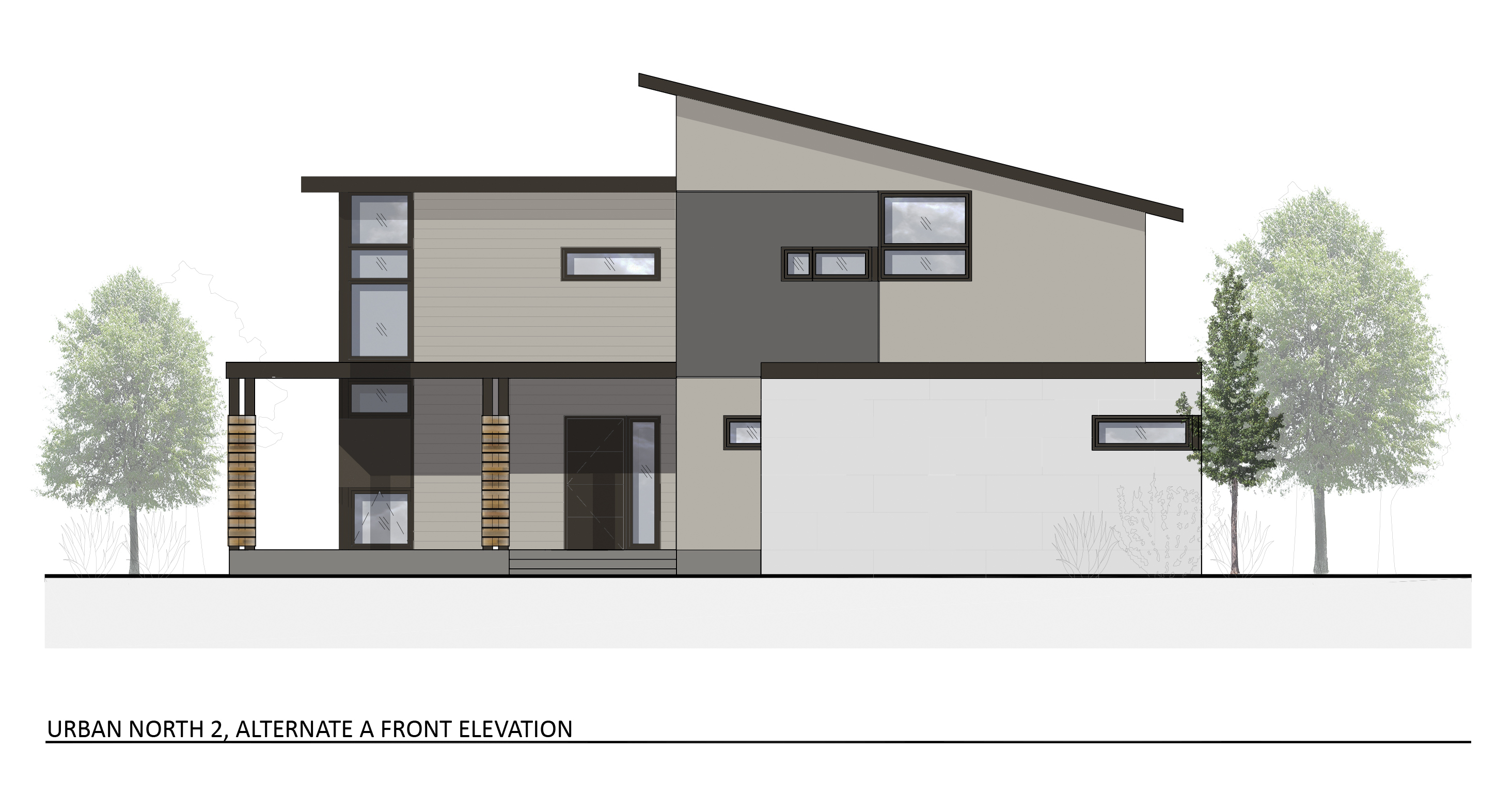 Urban north house plan 2 alternate elevation a